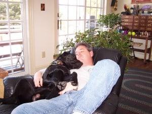 Sleepy lab and his human- Endless Mt. Labradors