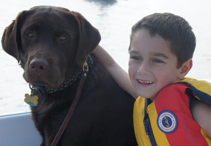 child and labrador choose veterinarian